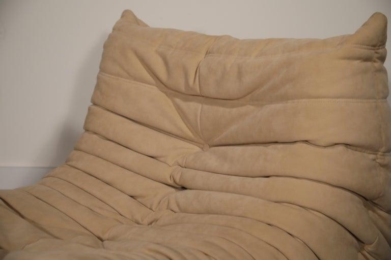 Togo Corner Seat by Michel Ducaroy for Ligne Roset in Beige Alcantara Ultrasuede For Sale 9