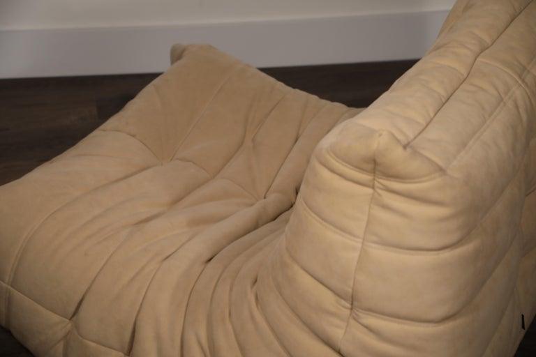 Togo Corner Seat by Michel Ducaroy for Ligne Roset in Beige Alcantara Ultrasuede For Sale 10