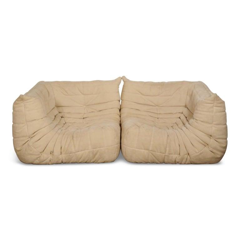 American Togo Corner Seat by Michel Ducaroy for Ligne Roset in Beige Alcantara Ultrasuede For Sale