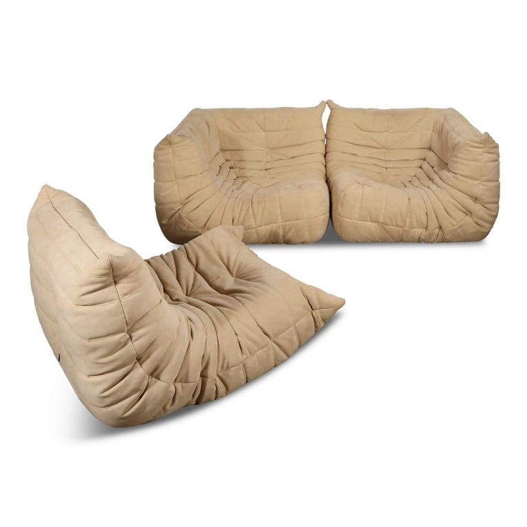 Contemporary Togo Corner Seat by Michel Ducaroy for Ligne Roset in Beige Alcantara Ultrasuede For Sale