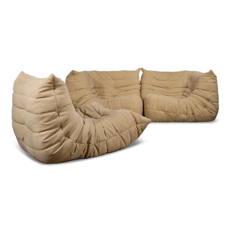 Togo Corner Seat by Michel Ducaroy for Ligne Roset in Beige Alcantara Ultrasuede For Sale 1