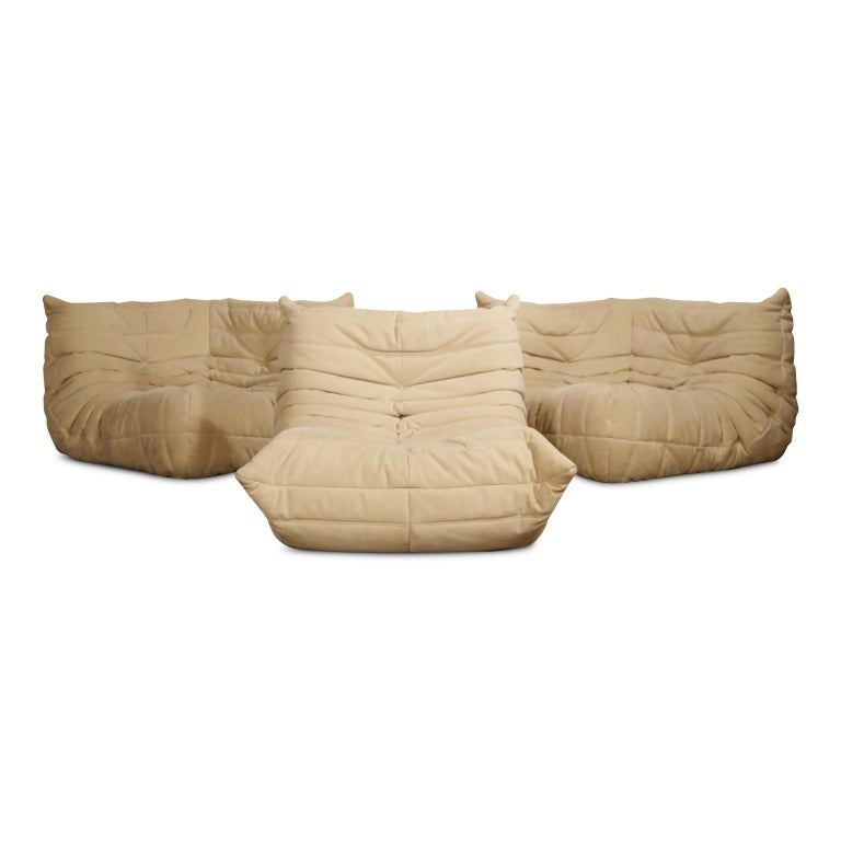 Togo Corner Seat by Michel Ducaroy for Ligne Roset in Beige Alcantara Ultrasuede For Sale 2