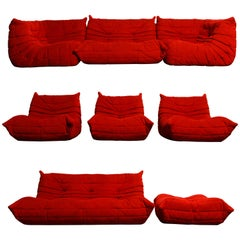 'Togo' Eight-Piece Sectional Sofa Set by Michel Ducaroy for Ligne Roset, Signed