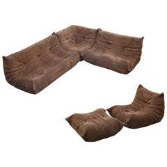 'Togo' Five-Piece Sectional Sofa Set by Michel Ducaroy for Ligne Roset, Signed