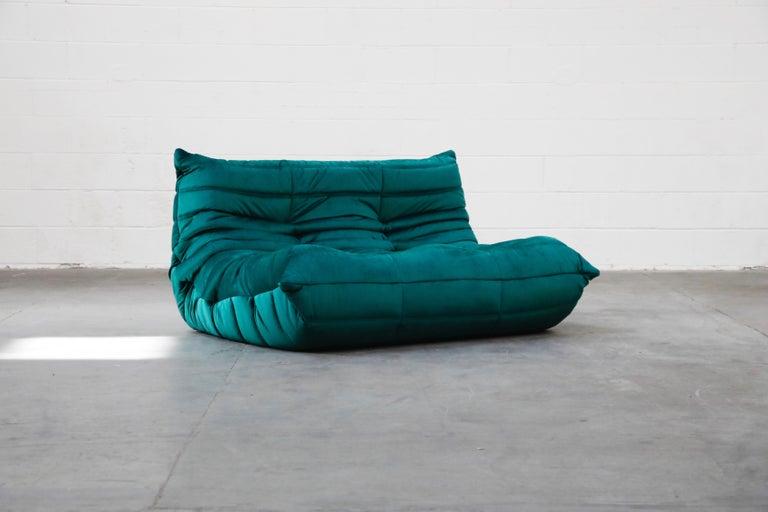 Togo Five-Piece Set by Michel Ducaroy for Ligne Roset in Emerald Green Velvet For Sale 6