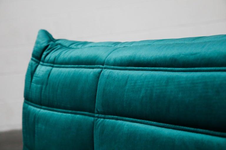 Togo Five-Piece Set by Michel Ducaroy for Ligne Roset in Emerald Green Velvet For Sale 10