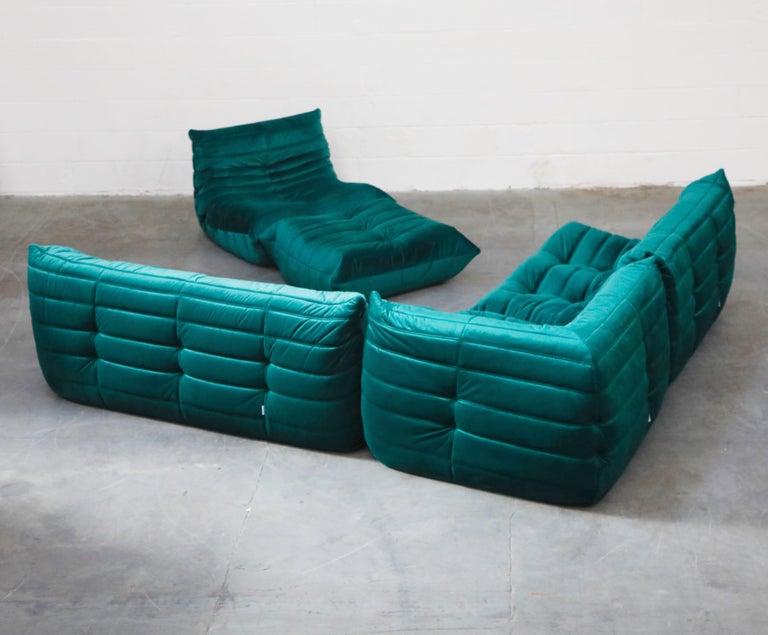 Modern Togo Five-Piece Set by Michel Ducaroy for Ligne Roset in Emerald Green Velvet For Sale