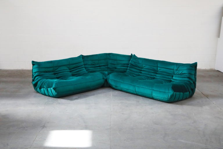 Late 20th Century Togo Five-Piece Set by Michel Ducaroy for Ligne Roset in Emerald Green Velvet For Sale