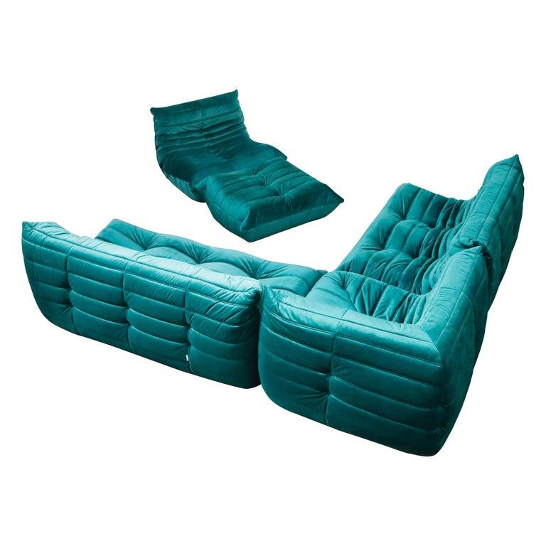 Togo Five-Piece Set by Michel Ducaroy for Ligne Roset in Emerald Green Velvet For Sale