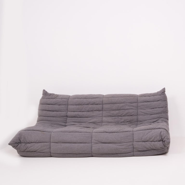 French Togo Grey Fabric Sofa and Footstool by Michel Ducaroy for Ligne Roset, Set of 4 For Sale