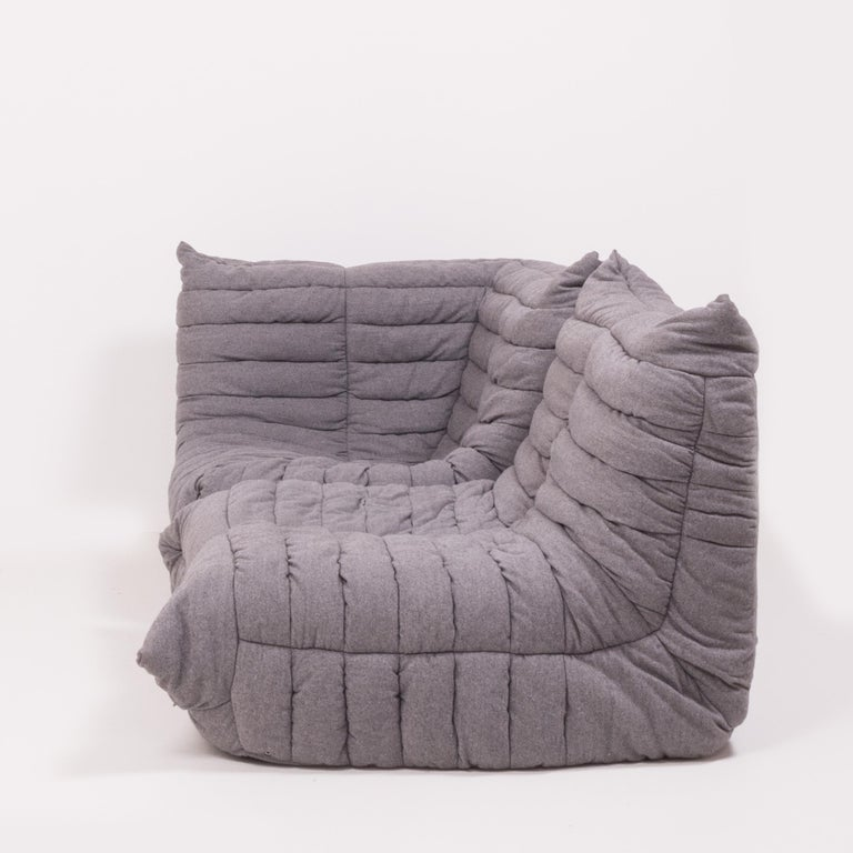 Togo Grey Fabric Sofa and Footstool by Michel Ducaroy for Ligne Roset, Set of 4 In Good Condition For Sale In London, GB