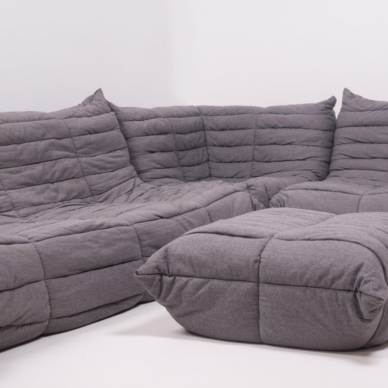 Late 20th Century Togo Grey Fabric Sofa and Footstool by Michel Ducaroy for Ligne Roset, Set of 4 For Sale