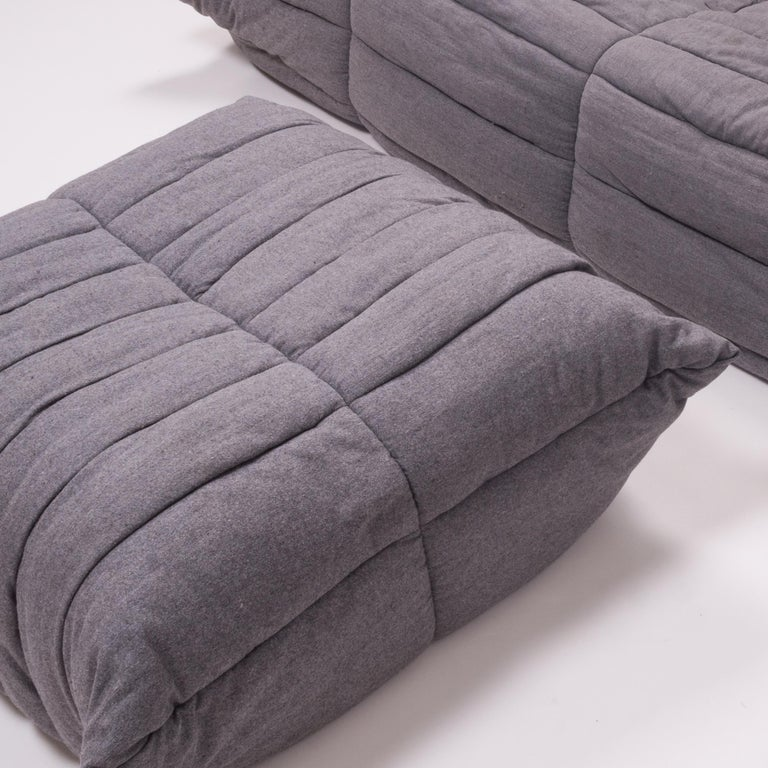 Togo Grey Fabric Sofa and Footstool by Michel Ducaroy for Ligne Roset, Set of 4 For Sale 1