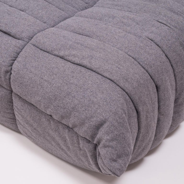 Togo Grey Fabric Sofa and Footstool by Michel Ducaroy for Ligne Roset, Set of 4 For Sale 2