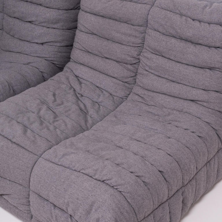 Togo Grey Fabric Sofa and Footstool by Michel Ducaroy for Ligne Roset, Set of 4 For Sale 3