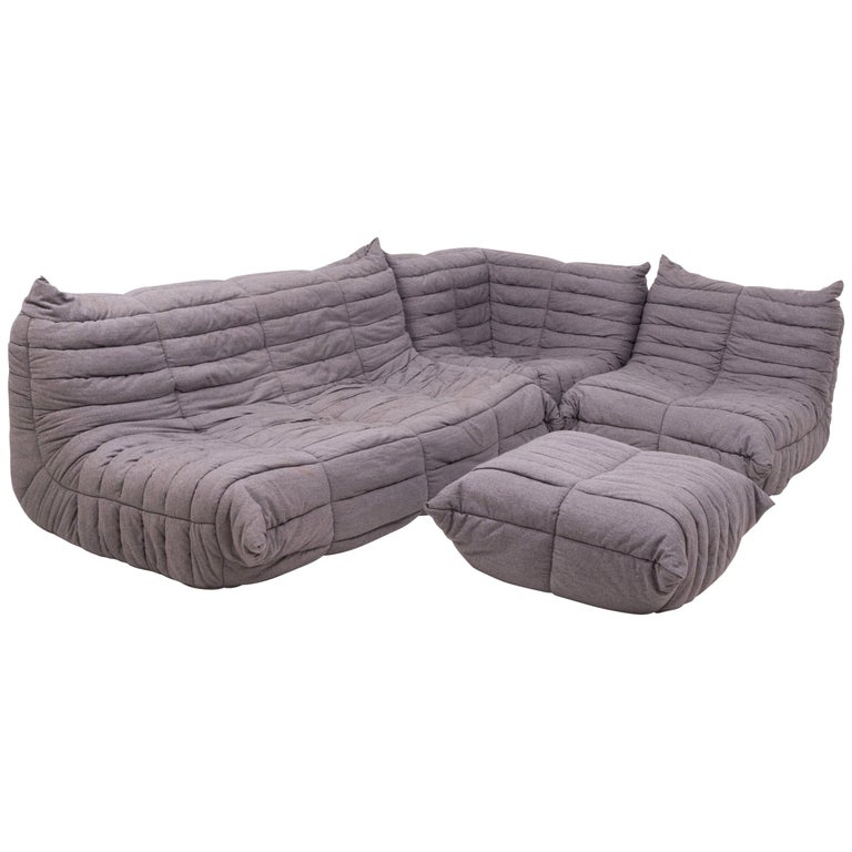 Togo Grey Fabric Sofa and Footstool by Michel Ducaroy for Ligne Roset, Set of 4 For Sale