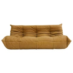 Togo Large Sofa in Camel Pull-Up Leather by Michel Ducaroy for Ligne Roset
