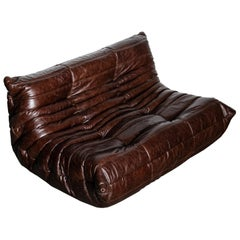 'Togo' Leather Loveseat by Michel Ducaroy for Ligne Roset, Signed