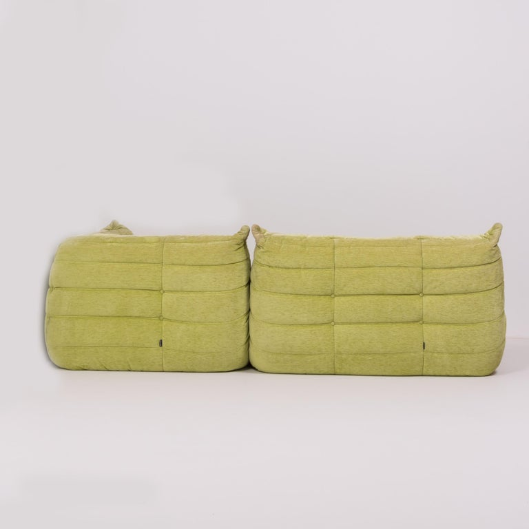 French Togo Lime Green Fabric Sofa by Michel Ducaroy for Ligne Roset, Two-Piece Set For Sale