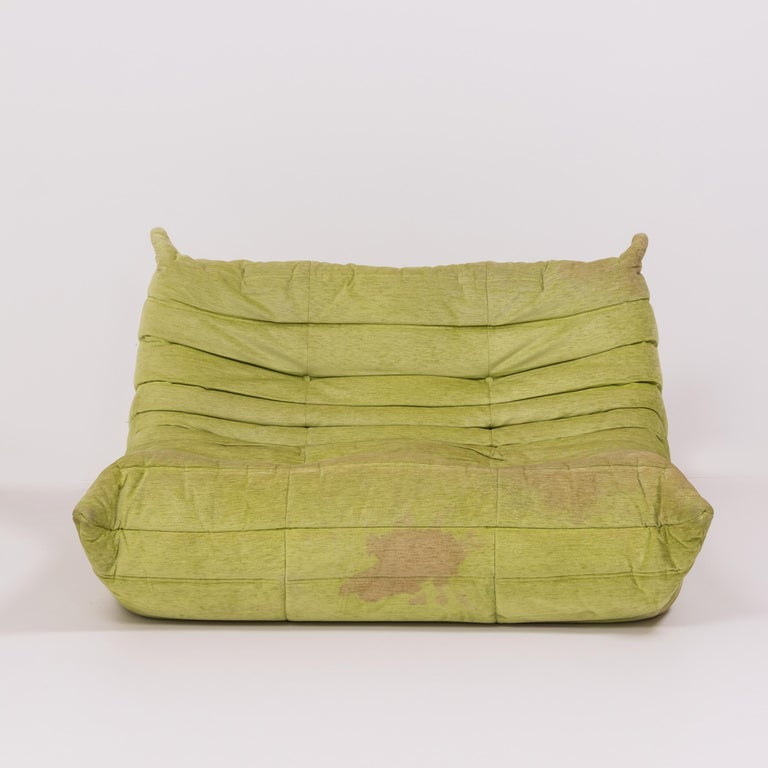 Togo Lime Green Fabric Sofa by Michel Ducaroy for Ligne Roset, Two-Piece Set In Distressed Condition For Sale In London, GB