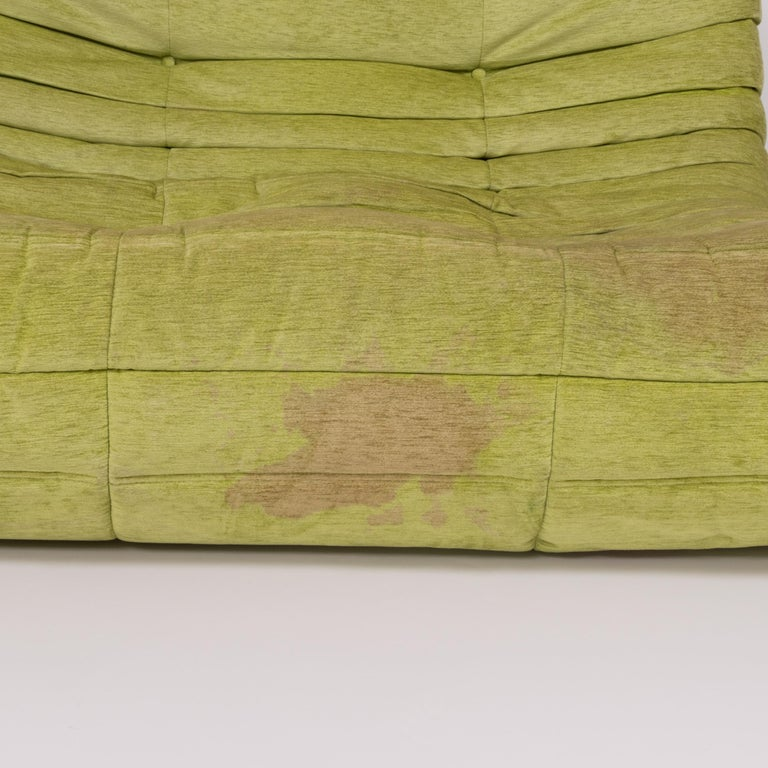 Togo Lime Green Fabric Sofa by Michel Ducaroy for Ligne Roset, Two-Piece Set For Sale 4