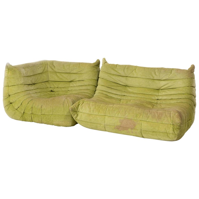 Togo Lime Green Fabric Sofa by Michel Ducaroy for Ligne Roset, Two-Piece Set For Sale
