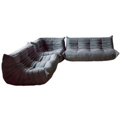 Togo Living Room Three-Piece Set in Microfiber by Michel Ducaroy for Ligne Roset