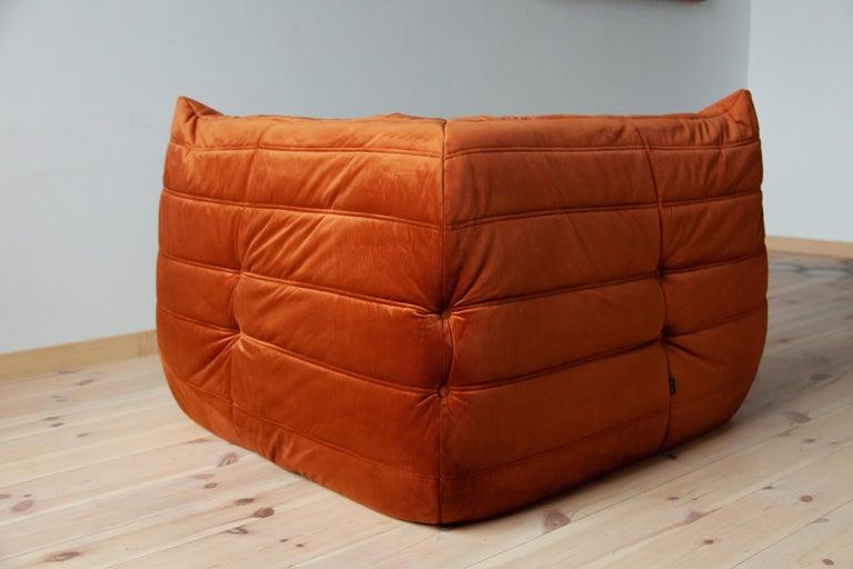 Togo Living Room Three-Piece Set in Velvet by Michel Ducaroy for Ligne Roset For Sale 5