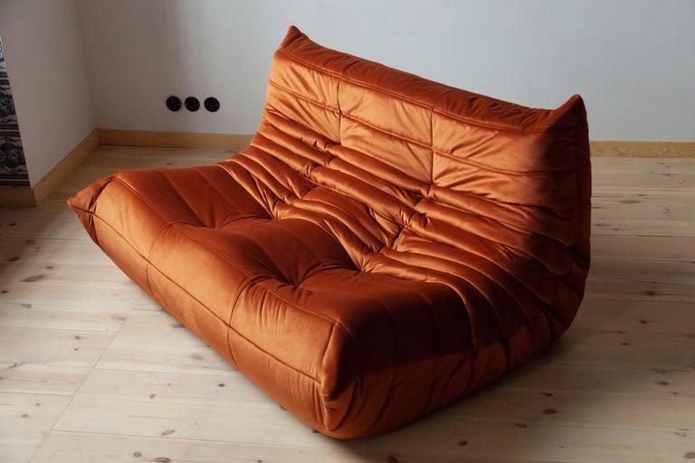Mid-Century Modern Togo Living Room Three-Piece Set in Velvet by Michel Ducaroy for Ligne Roset For Sale