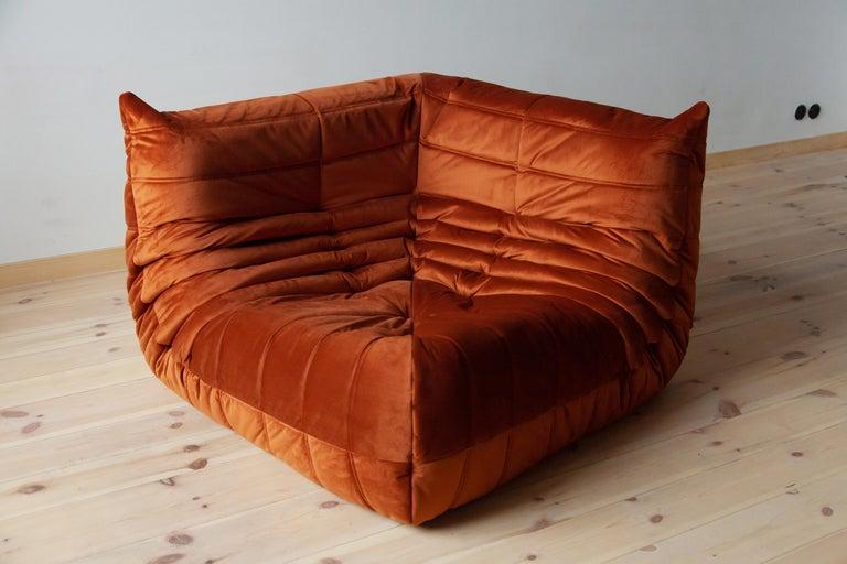 Togo Living Room Three-Piece Set in Velvet by Michel Ducaroy for Ligne Roset For Sale 3