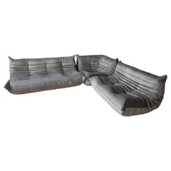 Togo Living Room Three-Piece Set in Velvet by Michel Ducaroy for Ligne Roset