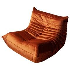 Togo Longue Chair in Amber Velvet by Michel Ducaroy, Ligne Roset