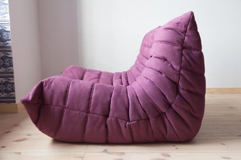 French Togo Longue Chair in Aubergine/Purple Microfibre by Michel Ducaroy, Ligne Roset For Sale