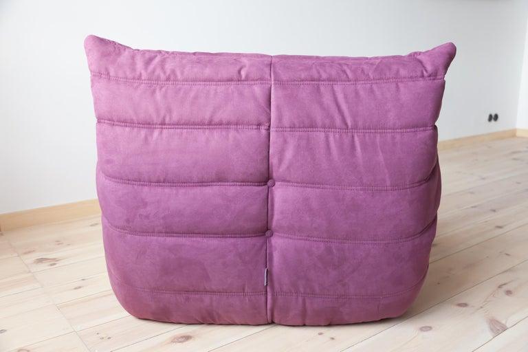 Late 20th Century Togo Longue Chair in Aubergine/Purple Microfibre by Michel Ducaroy, Ligne Roset For Sale