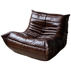 Togo Longue Chair in Brown Dubai Leather by Michel Ducaroy, Ligne Roset