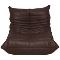 Togo Longue Chair in Brown Madras Leather by Michel Ducaroy, Ligne Roset