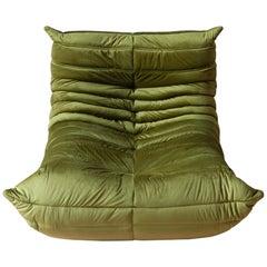 Togo Longue Chair in Green Velvet by Michel Ducaroy, Ligne Roset
