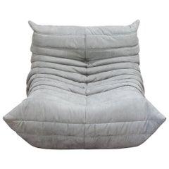 Togo Longue Chair in Light Grey Microfibre by Michel Ducaroy, Ligne Roset