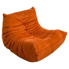 Togo Longue Chair in Orange Velvet by Michel Ducaroy, Ligne Roset
