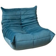 Togo Longue Chair in Sea Blue Velvet by Michel Ducaroy, Ligne Roset