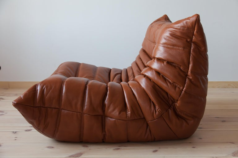 Togo Longue Chair in Whiskey Leather by Michel Ducaroy, Ligne Roset For Sale 2