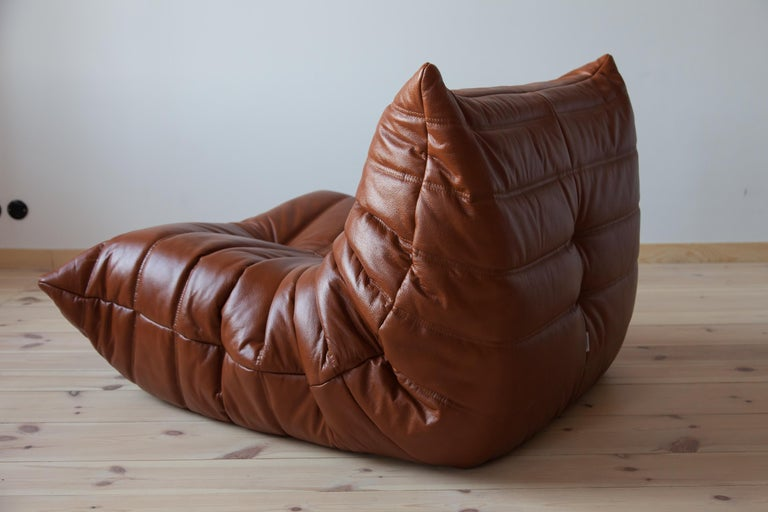 Togo Longue Chair in Whiskey Leather by Michel Ducaroy, Ligne Roset For Sale 1