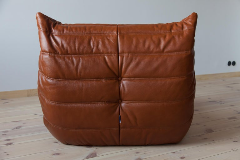 Late 20th Century Togo Longue Chair in Whiskey Leather by Michel Ducaroy, Ligne Roset For Sale