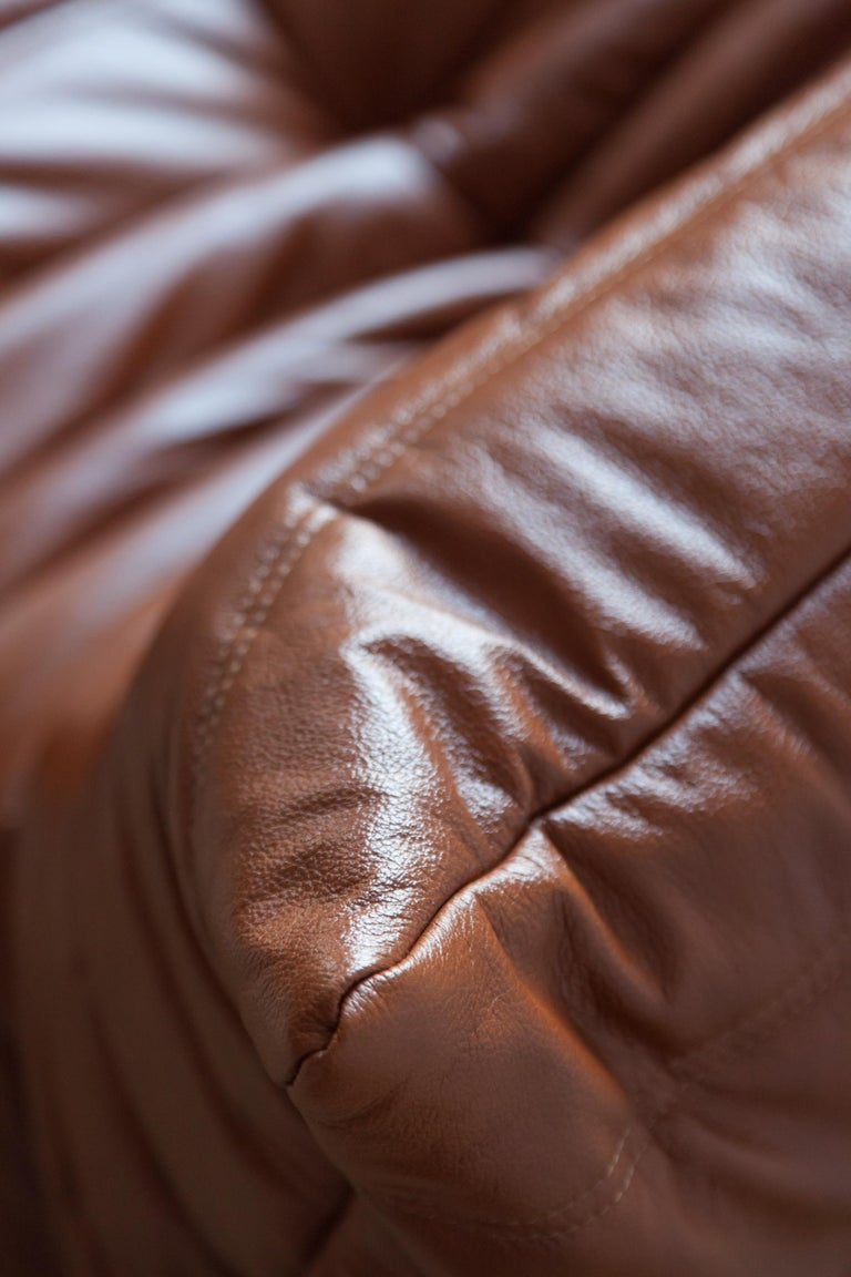 Togo Longue Chair in Whiskey Leather by Michel Ducaroy, Ligne Roset For Sale 10
