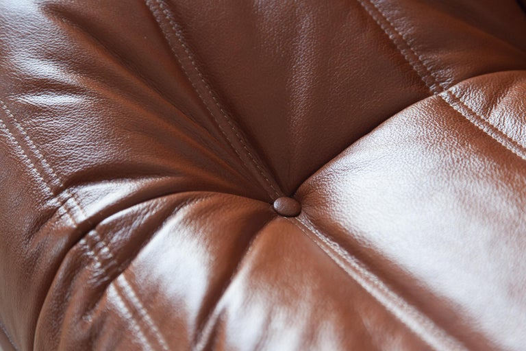 Togo Longue Chair in Whiskey Leather by Michel Ducaroy, Ligne Roset For Sale 5