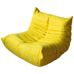 Togo Longue Chair in Yellow Microfibre by Michel Ducaroy, Ligne Roset