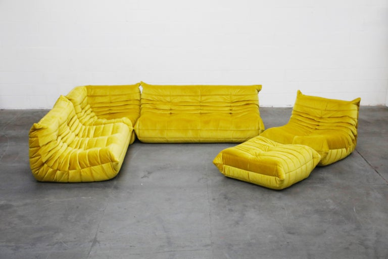 'Togo' Lounge Chair and Ottoman by Michel Ducaroy for Ligne Roset in Gold Velvet For Sale 7
