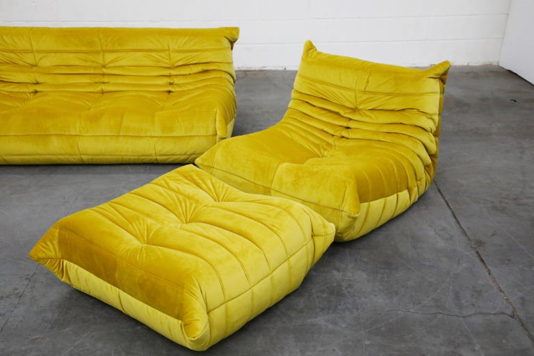 'Togo' Lounge Chair and Ottoman by Michel Ducaroy for Ligne Roset in Gold Velvet For Sale 8