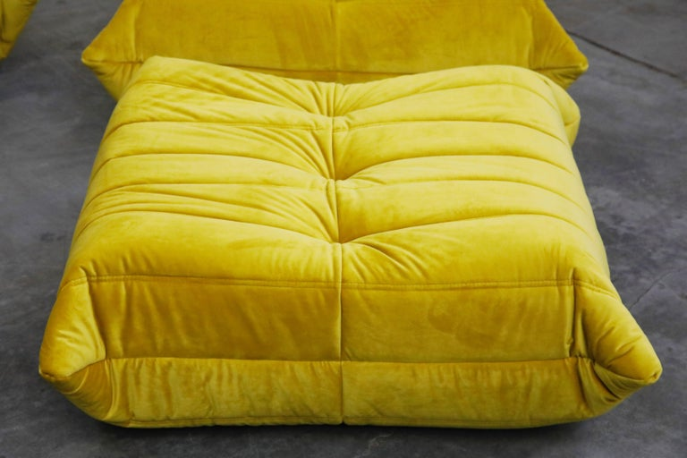 'Togo' Lounge Chair and Ottoman by Michel Ducaroy for Ligne Roset in Gold Velvet For Sale 9