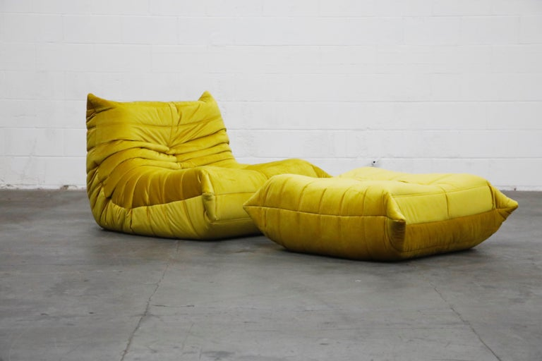 French 'Togo' Lounge Chair and Ottoman by Michel Ducaroy for Ligne Roset in Gold Velvet For Sale